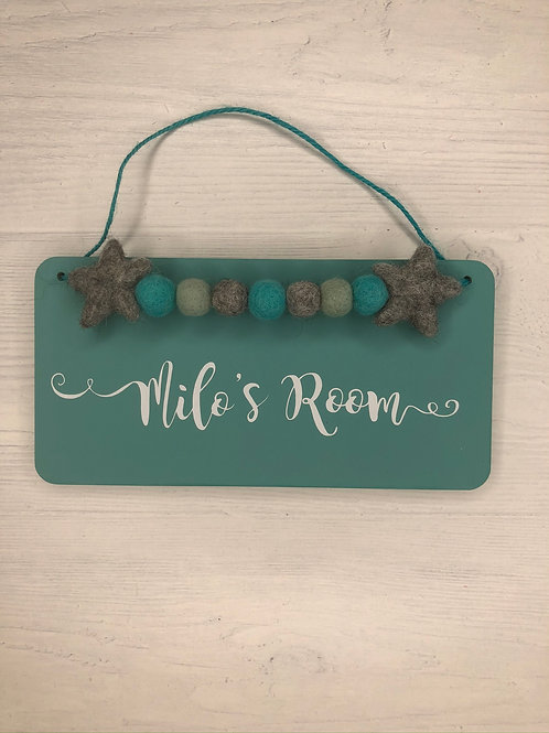Teal Personalised Handpainted Room Sign