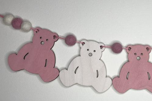 Handpainted Vintage Pink Teddy Bear Bunting