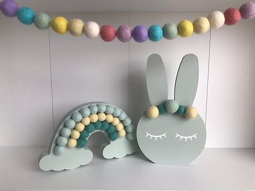 Mint Handpainted Gift Set -  Bunny, Rainbow and Garland