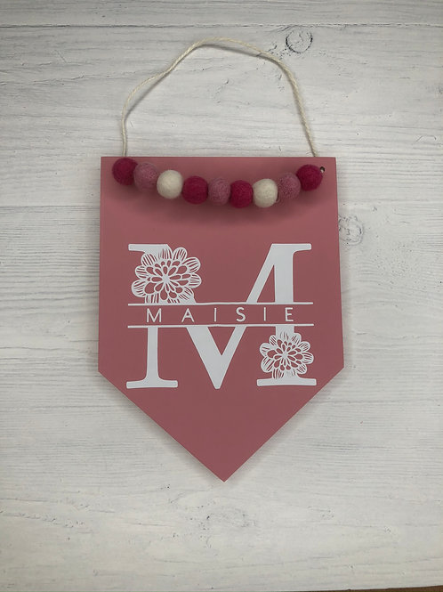 Bright Pink Monogrammed Handpainted Wall Sign