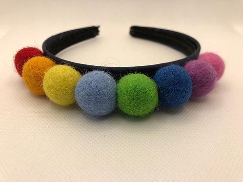 Rainbow Navy Pom Pom Alice band Hairband