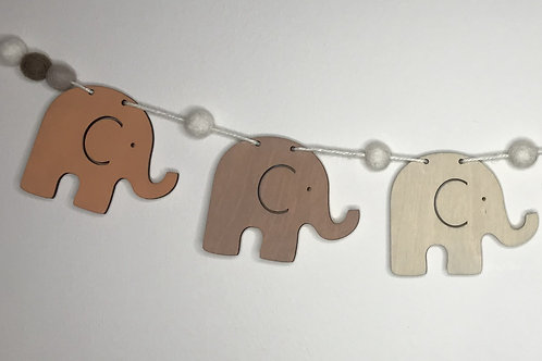 Handpainted Rustic Elephant Wood and Pom Pom Bunting