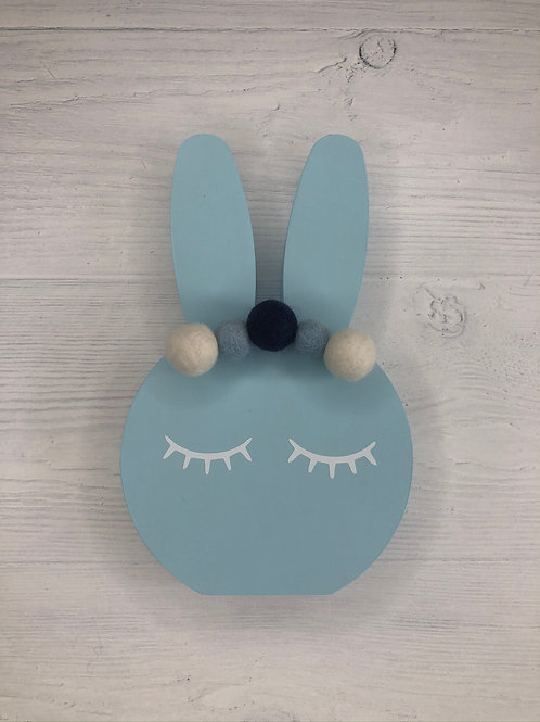 Baby Blue Personalised Handpainted Pom Pom Bunny