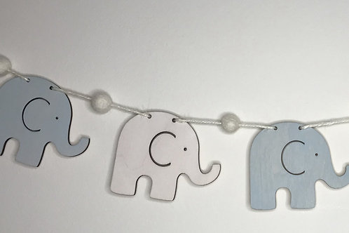 Handpainted Baby Blue Elephant Wood and Pom Pom Bunting