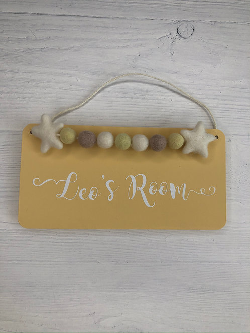 Soft Yellow Personalised Handpainted Room Sign