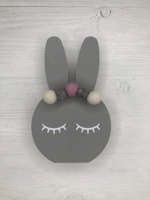 Steel Grey Personalised Handpainted Pom Pom Bunny