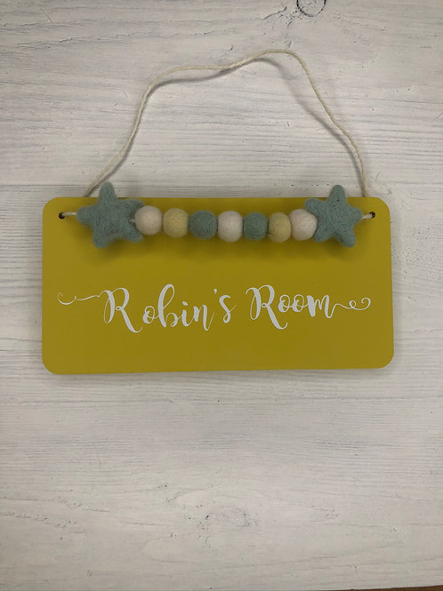 Yellow Personalised Handpainted Room Sign