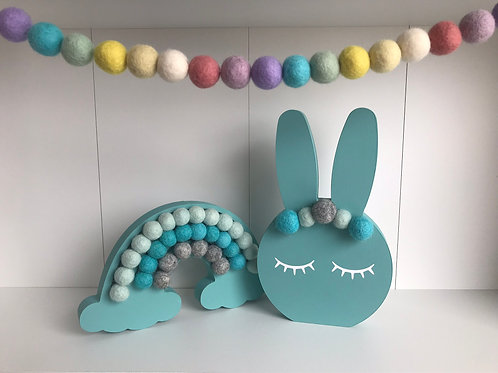 Teal Handpainted Gift Set -  Bunny, Rainbow and Garland