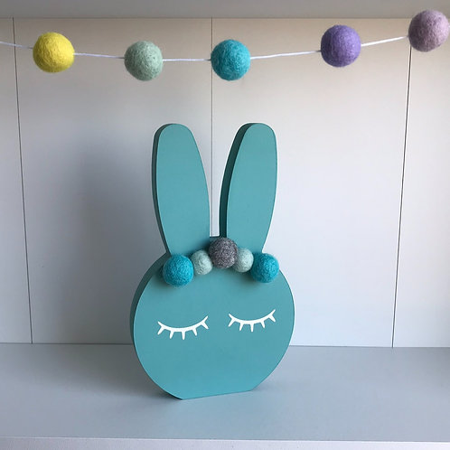 Teal Personalised Handpainted Pom Pom Bunny
