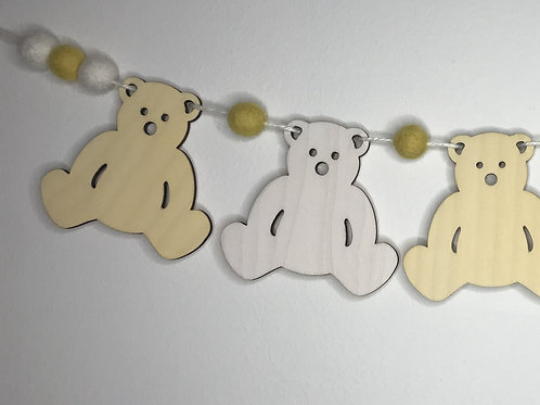 Handpainted Soft Lemon Teddy Bear Bunting