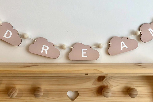 Handpainted 'Dream' Wood and Pom Pom Bunting