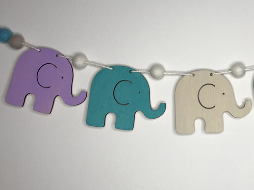 Handpainted Brights Elephant Wood and Pom Pom Bunting