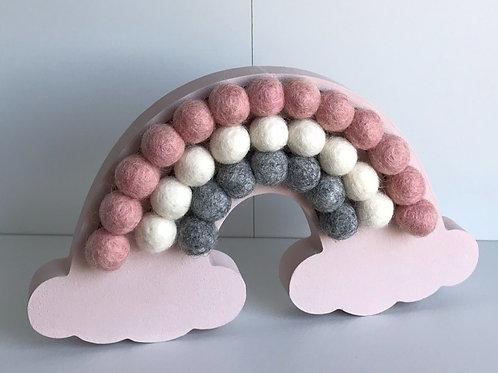 Baby Pink Handpainted Pom Pom Rainbow