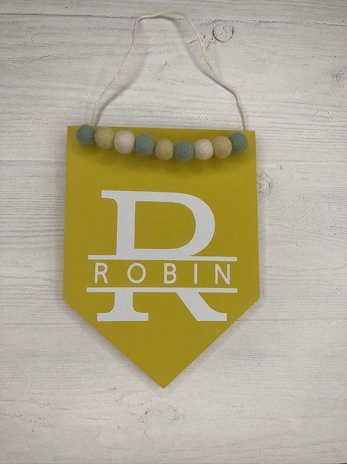 Yellow Monogrammed Handpainted Wall Sign