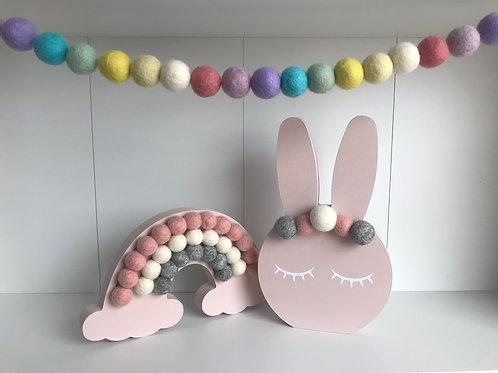 Baby Pink Handpainted Gift Set -  Bunny, Rainbow and Garland