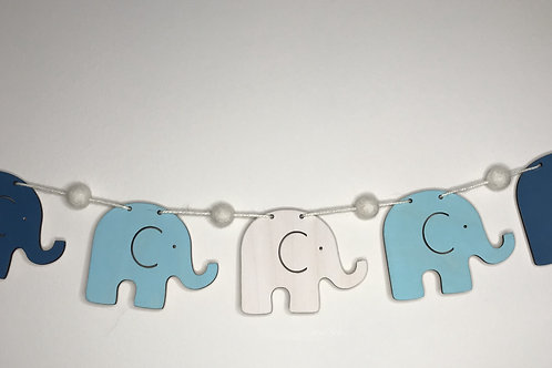 Handpainted Bright Blue Elephant Wood and Pom Pom Bunting