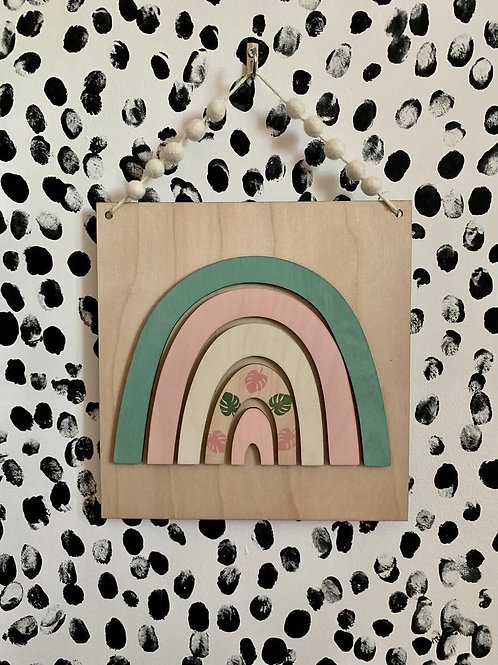 LIMITED EDITION Sage Green & Pink Rainbow Wall Plaque