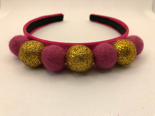Gold Pink Pom Pom Alice band Hairband