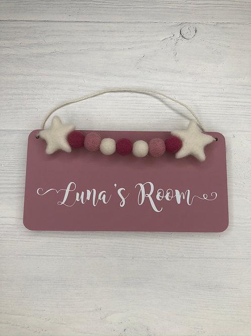Plum Pink Personalised Handpainted Room Sign