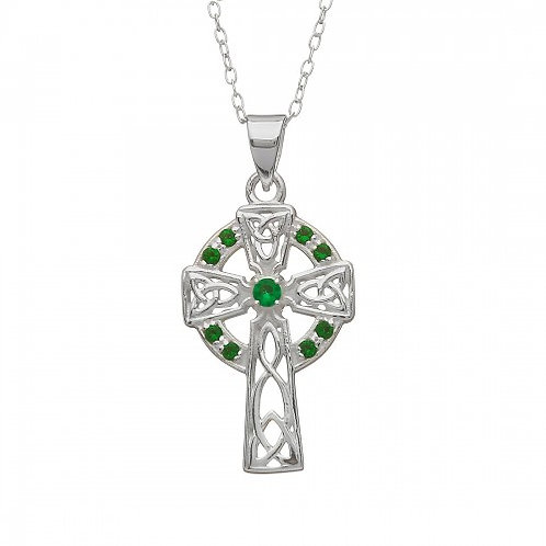 Celtic Cross with Green Stones