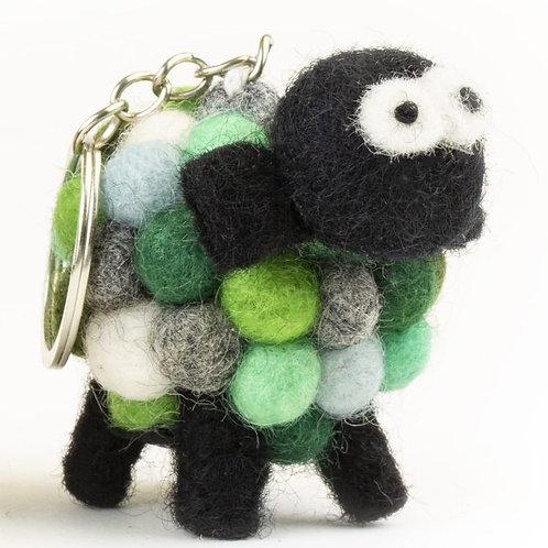 Multi-Green Sheep Keychain