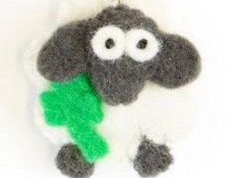Shamrock Sheep Keychain