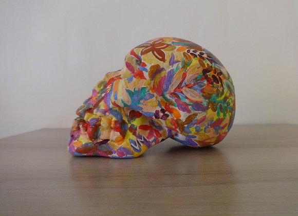 Crâne céramique peint abstrait coloré