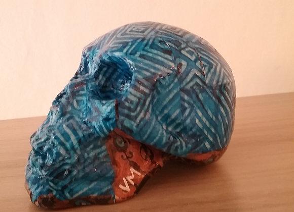 Crâne céramique bleu abstré