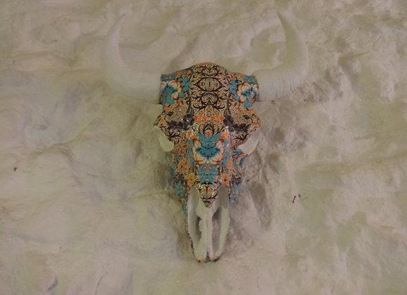Crâne de bison bleu orangé