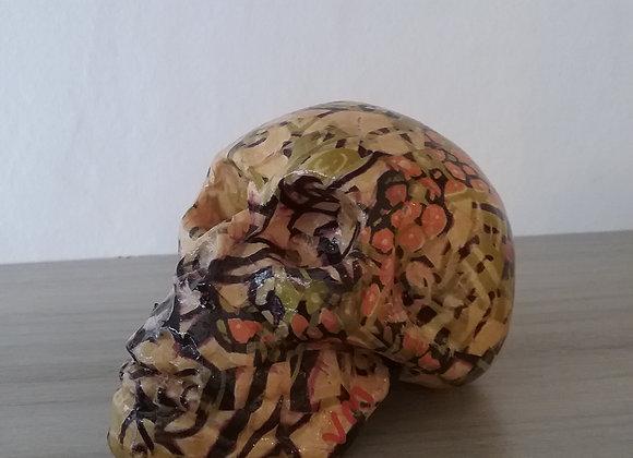 Crâne céramique fleuri comptemporain