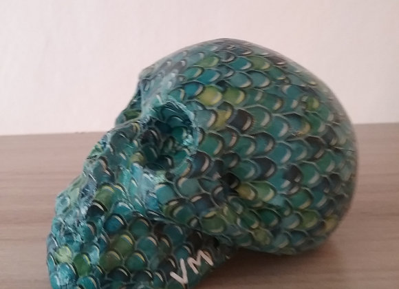 Crâne céramique écaille bleu