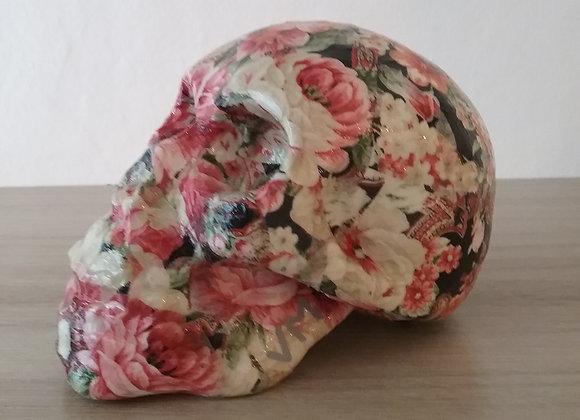 Crâne céramique fleuri