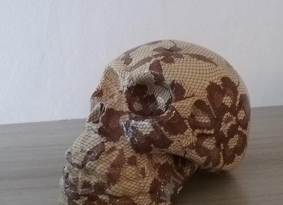 Crâne céramique fleuri beige