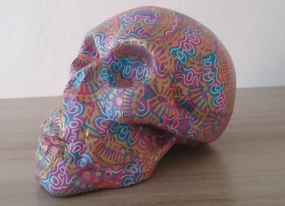Crâne céramique motif violet or bleu blanc