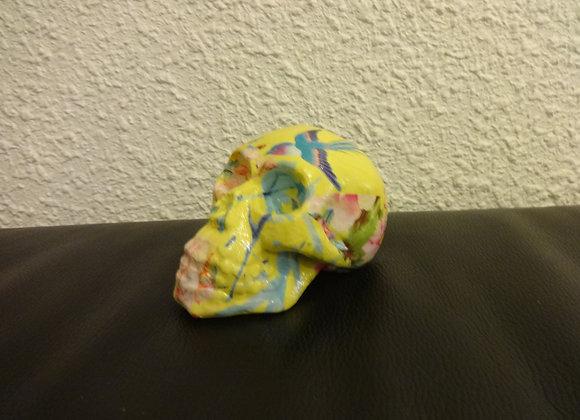 Crâne céramique coloré jaune fleuri  bleu