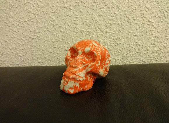 Crâne céramique tissus orange