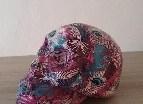Crâne céramique plume