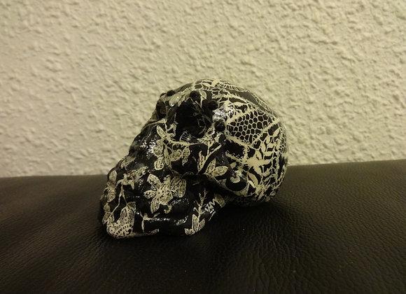 Crâne céramique noir dentelle 2
