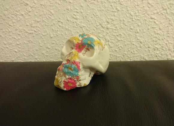 Crâne céramique blanc semi fleuri