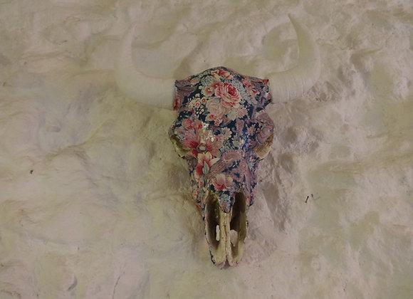 Crâne de bison fleur bleu
