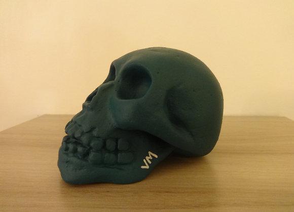 Crâne céramique uni vert bleu satin