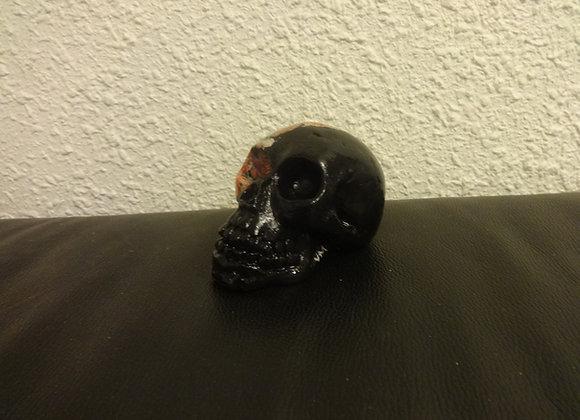 Crâne céramique semi fleuri rose