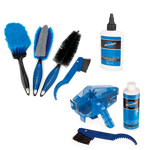 COMBO: Kit limpieza cadena + juego de cepillos + lubricante cadena