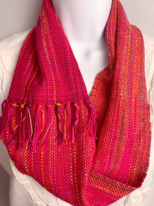 Fuchsia-Red Holiday Lights Short Infinity Scarf