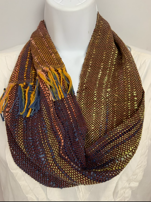 "Deep Rich ""Calico Corn"" Short Infinity Scarf"
