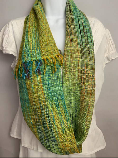 "Lime green ""Tropical Fish"" Long Infinity Scarf"
