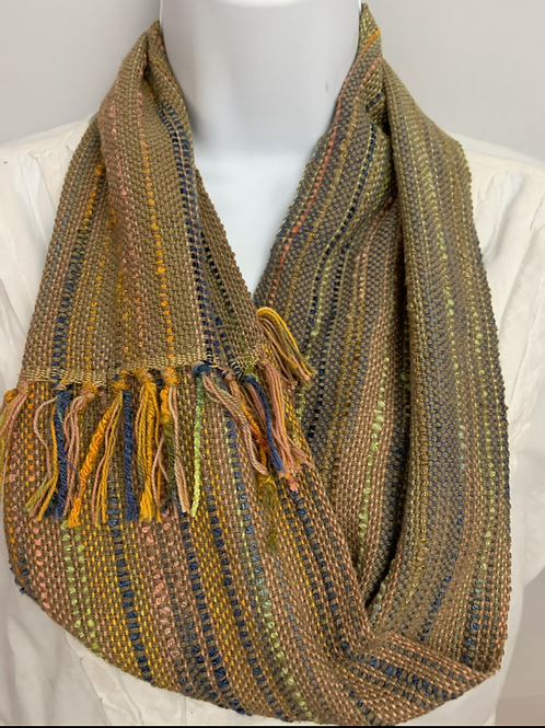 """Calico Corn"" tan short infinity scarf"