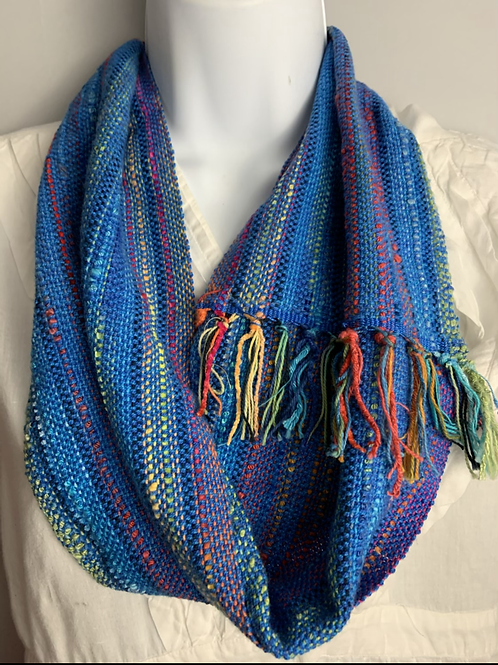 Blue-Multi Short Infinity Scarf
