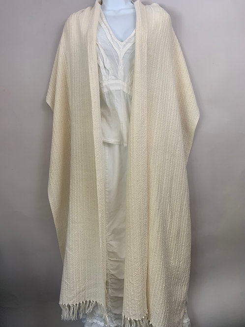 Long Straight Shawl in Natural