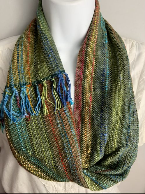 Green-Multi Short Infinity Scarf